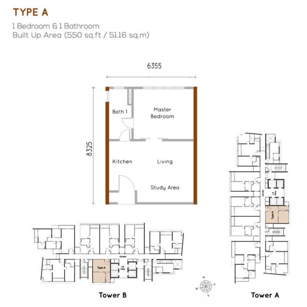 Woodsbury Suites Type A Floor Plan