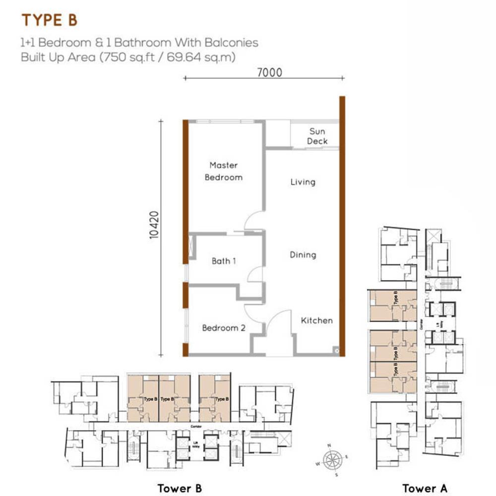 Woodsbury Suites Type B Floor Plan
