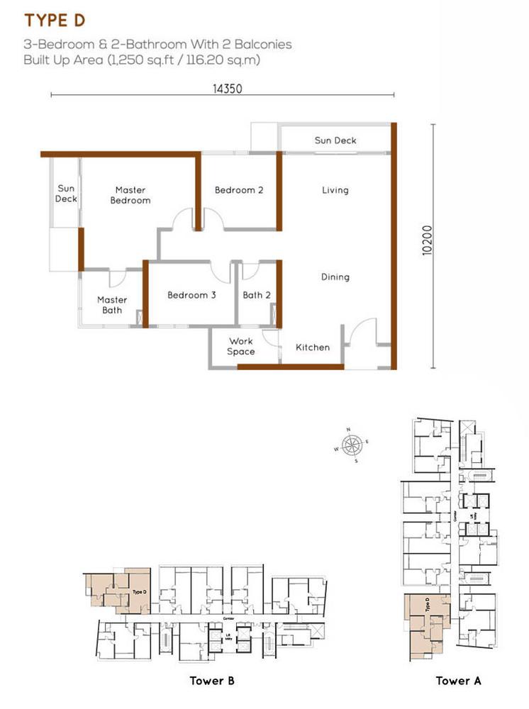 Woodsbury Suites Type D Floor Plan