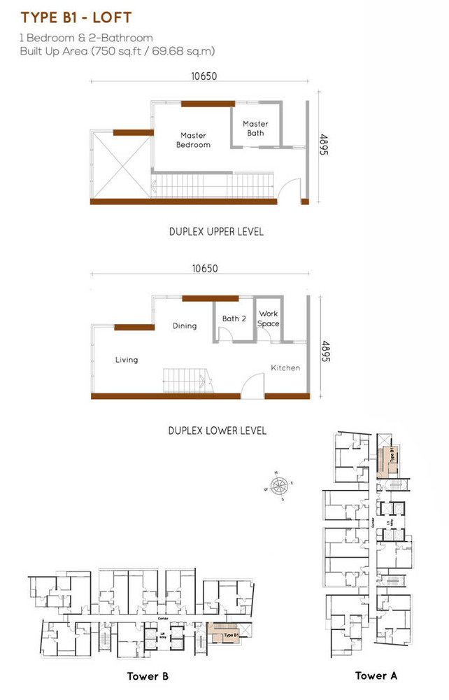 Woodsbury Suites Type B1 Floor Plan