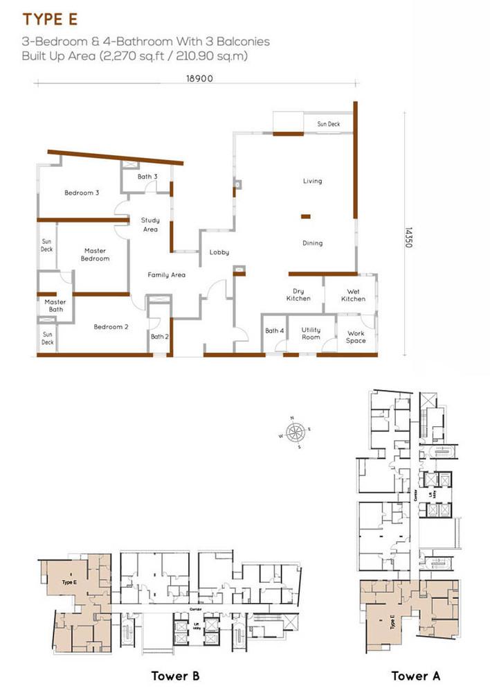 Woodsbury Suites Type E Floor Plan