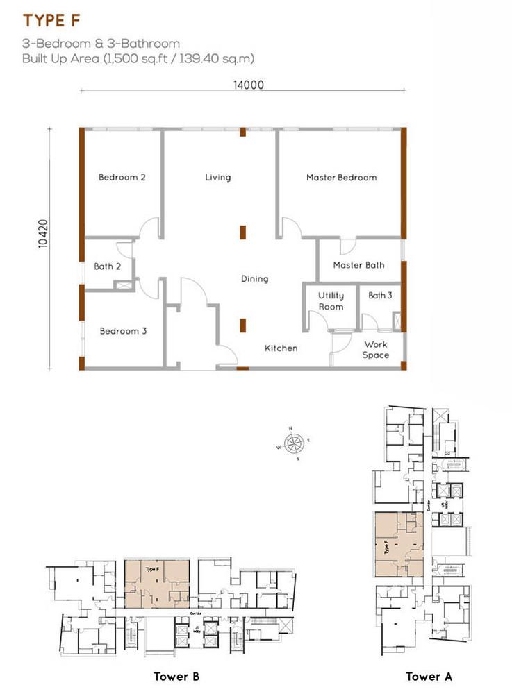 Woodsbury Suites Type F Floor Plan