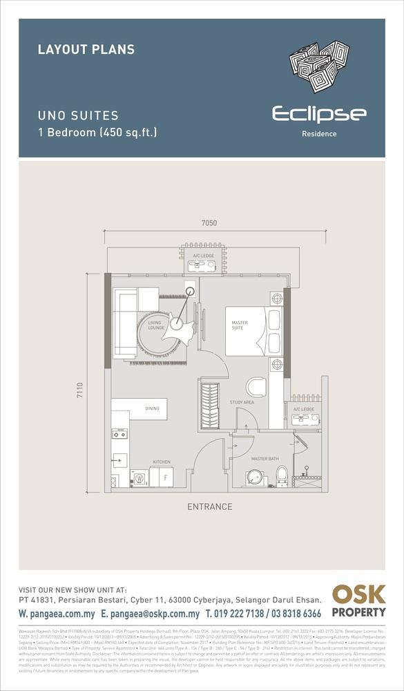 Eclipse Residence @ Pan'gaea Uno Suites Floor Plan
