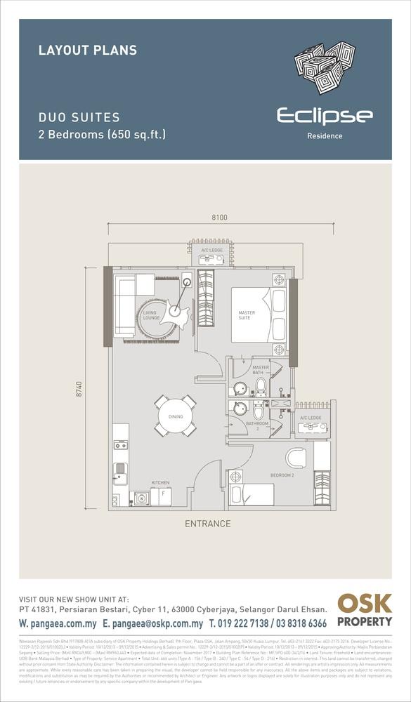 Eclipse Residence @ Pan'gaea Duo Suites Floor Plan