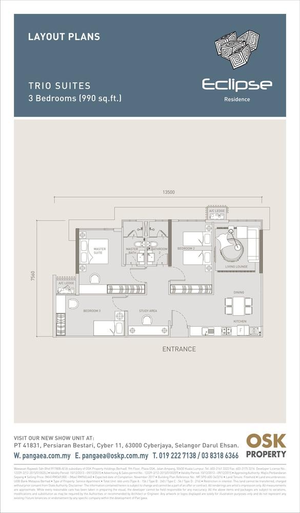 Eclipse Residence @ Pan'gaea Trio Suites Floor Plan