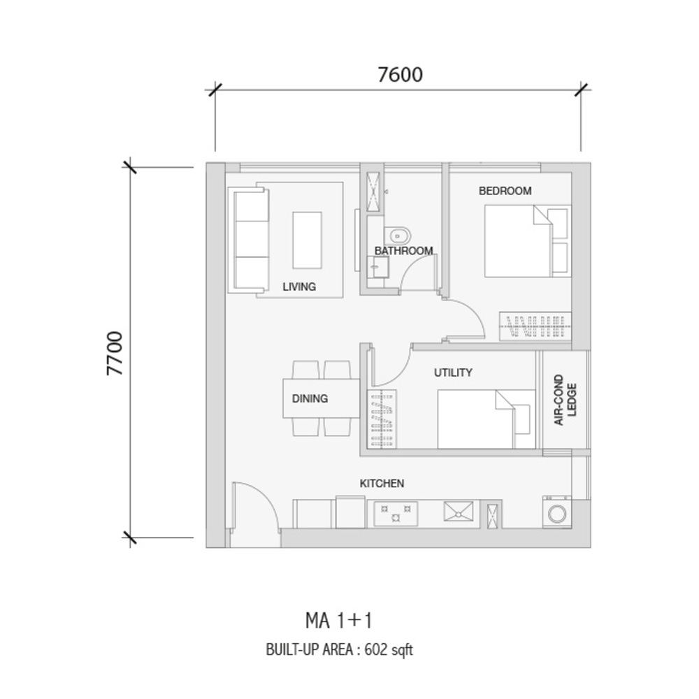 Setia Sky 88 MA 1+1 Floor Plan