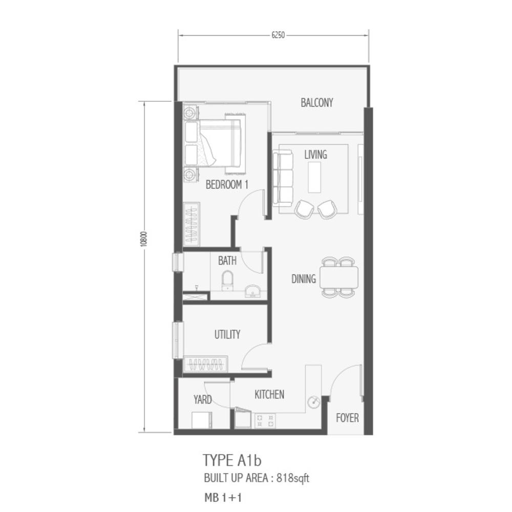 Setia Sky 88 Type A1B - Sora Floor Plan