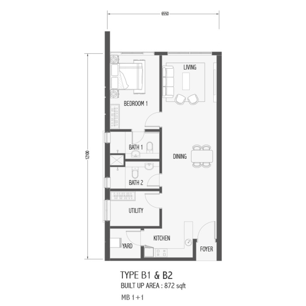 Setia Sky 88 Type B1 & B2 - Sora Floor Plan