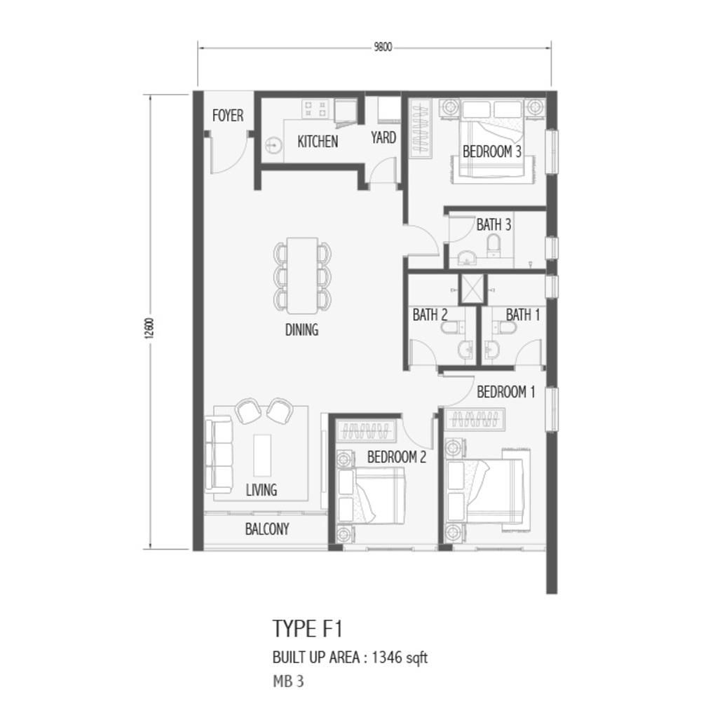 Setia Sky 88 Type F1 - Sora Floor Plan