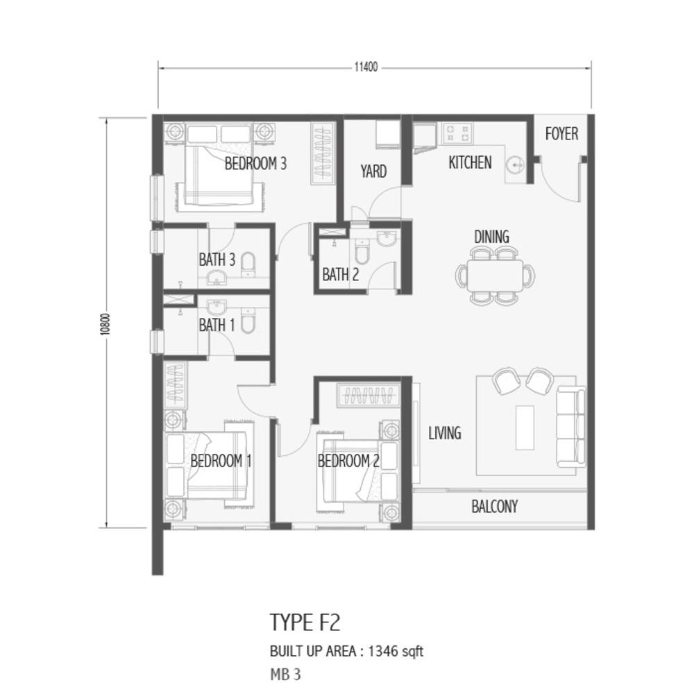Setia Sky 88 Type F2 - Sora Floor Plan