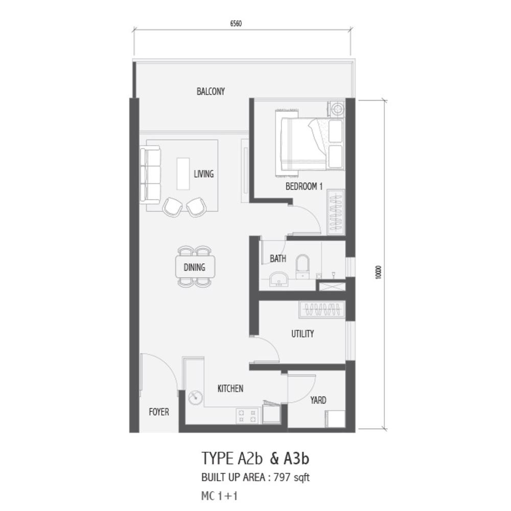 Setia Sky 88 Type A2B & A3B - Nube Floor Plan