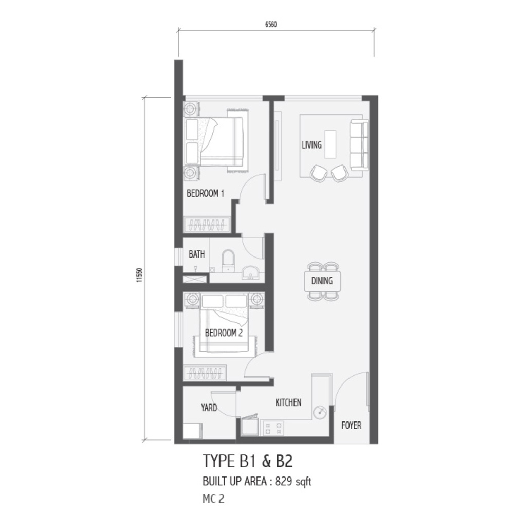 Setia Sky 88 Type B1 & B2 - Nube Floor Plan