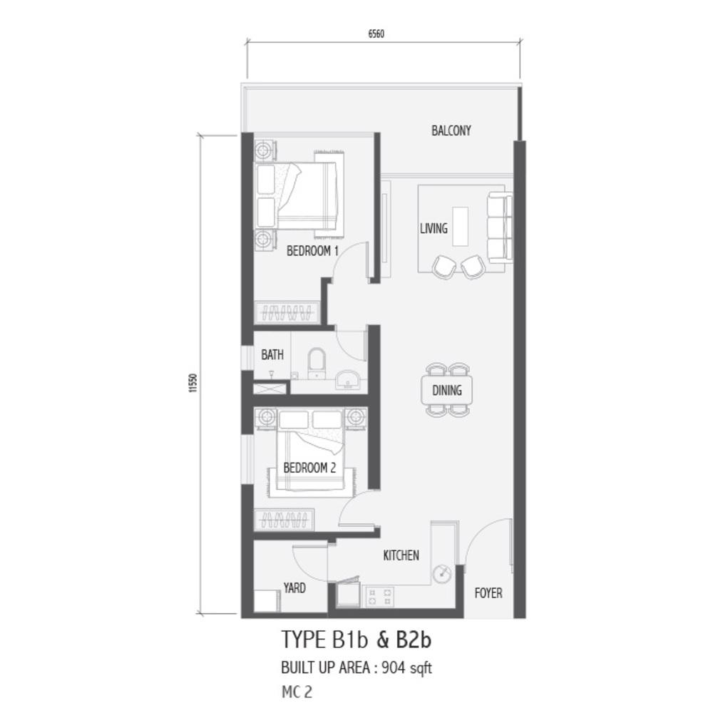 Setia Sky 88 Type B1B & B2B - Nube Floor Plan