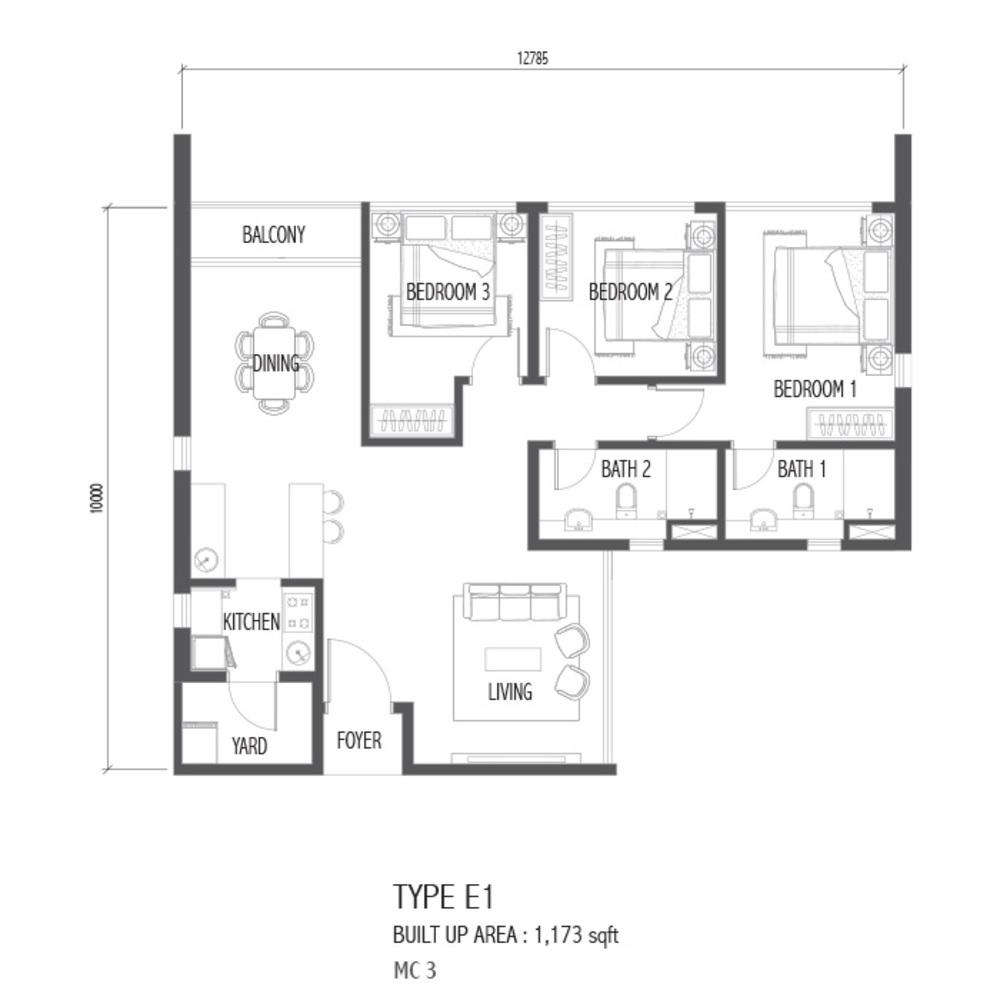 Setia Sky 88 Type E1 - Nube Floor Plan
