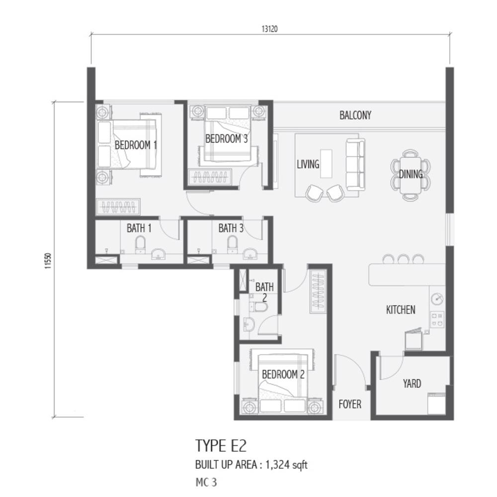 Setia Sky 88 Type E2 - Nube Floor Plan