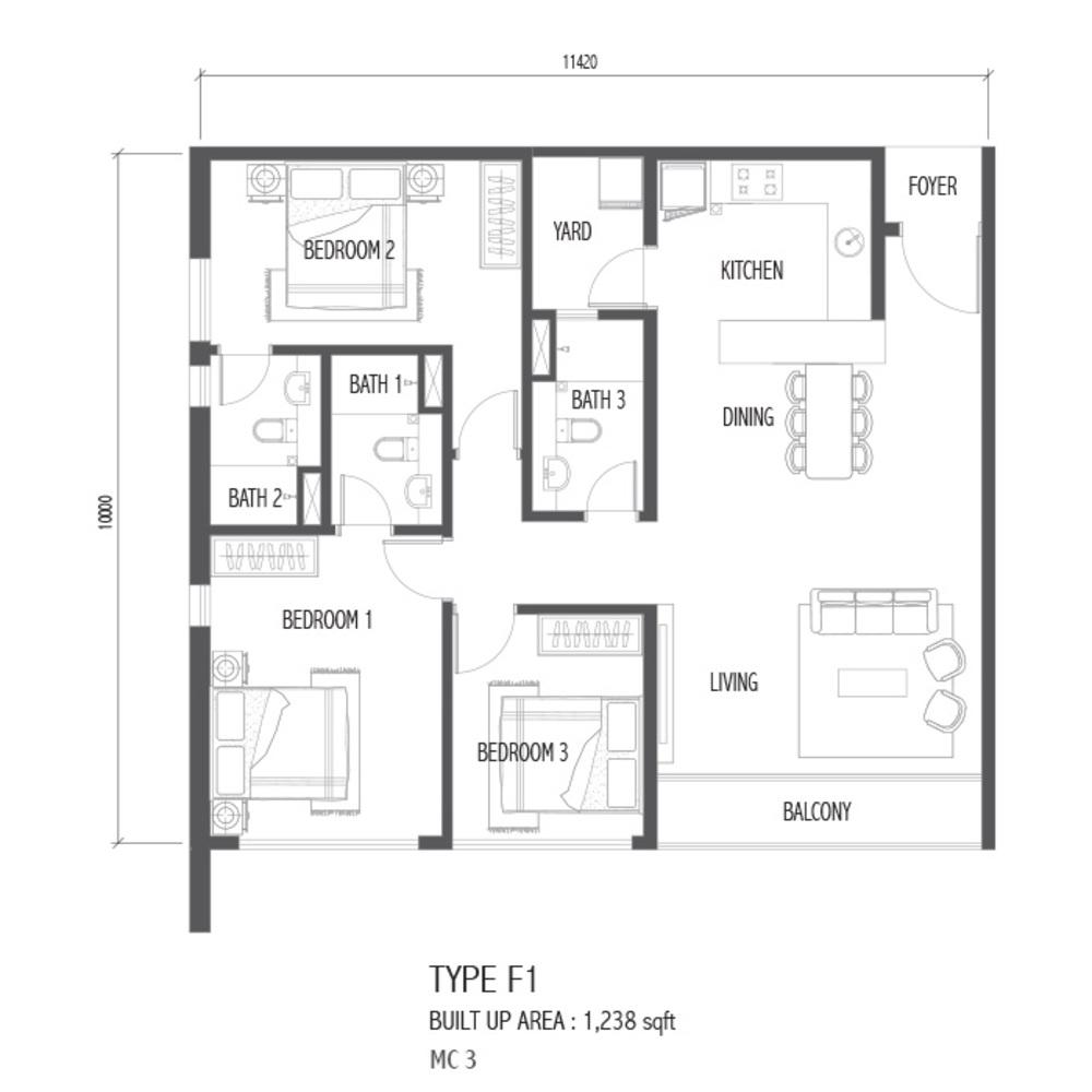 Setia Sky 88 Type F1 - Nube Floor Plan