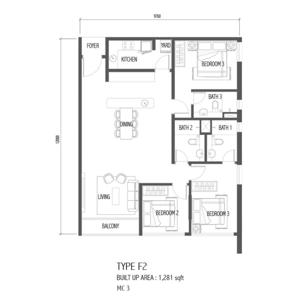 Setia Sky 88 Type F2 - Nube Floor Plan
