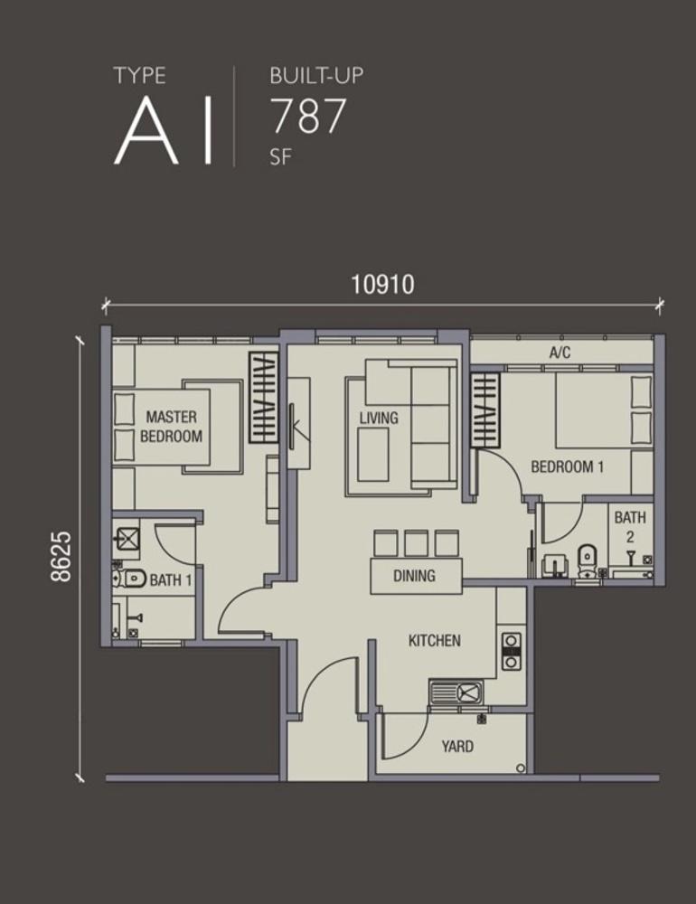 La Thea Residences Type A1 Floor Plan