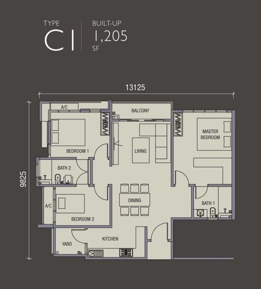 La Thea Residences Type C1 Floor Plan