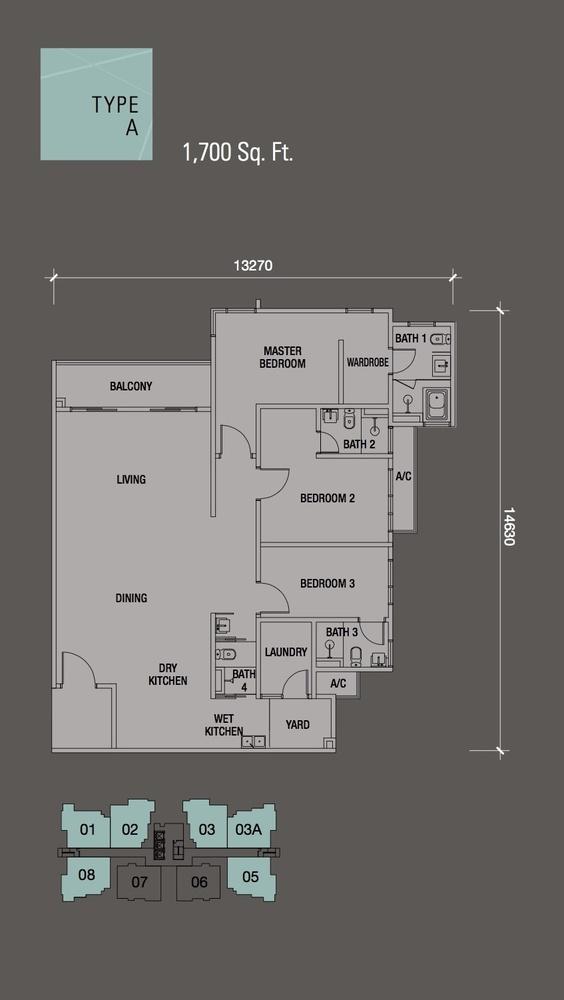 Puteri Hills Type A Floor Plan