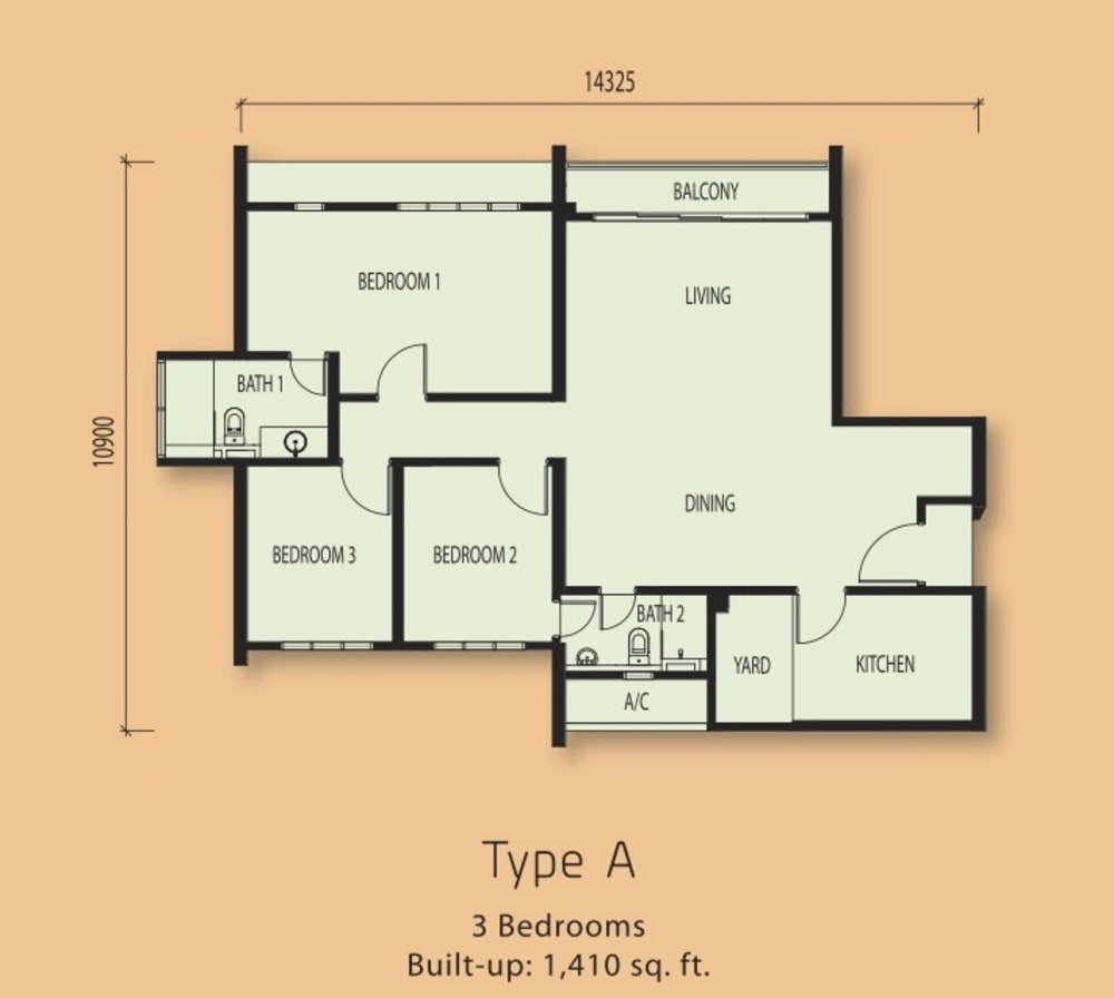 The Clio Residences Type A Floor Plan