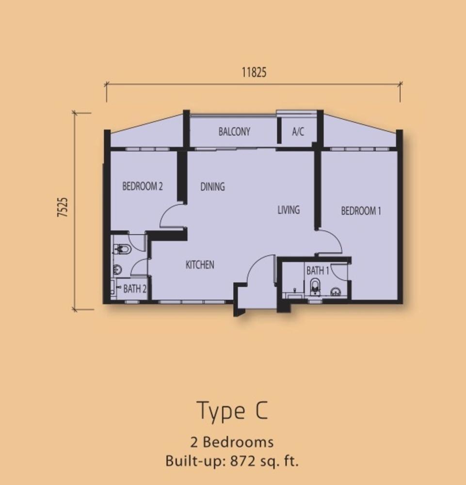 The Clio Residences Type C Floor Plan