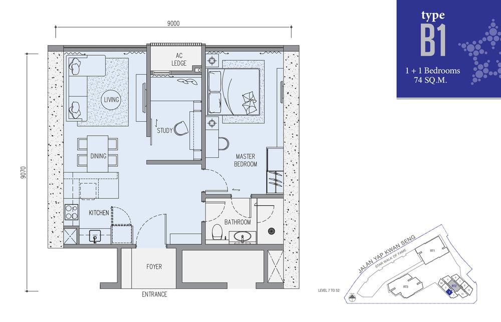 Star Residences Star Residences 2 - Type B1 Floor Plan