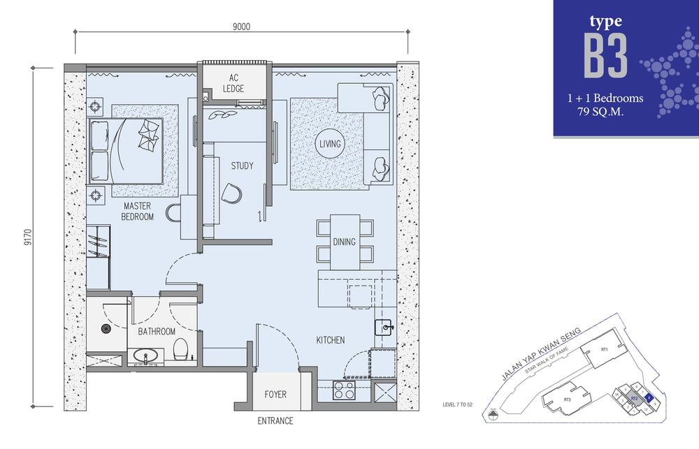 Star Residences Star Residences 2 - Type B3 Floor Plan
