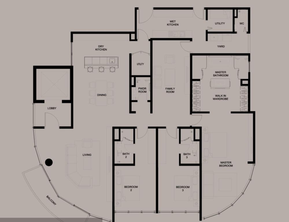 DC Residency Type E1 Floor Plan