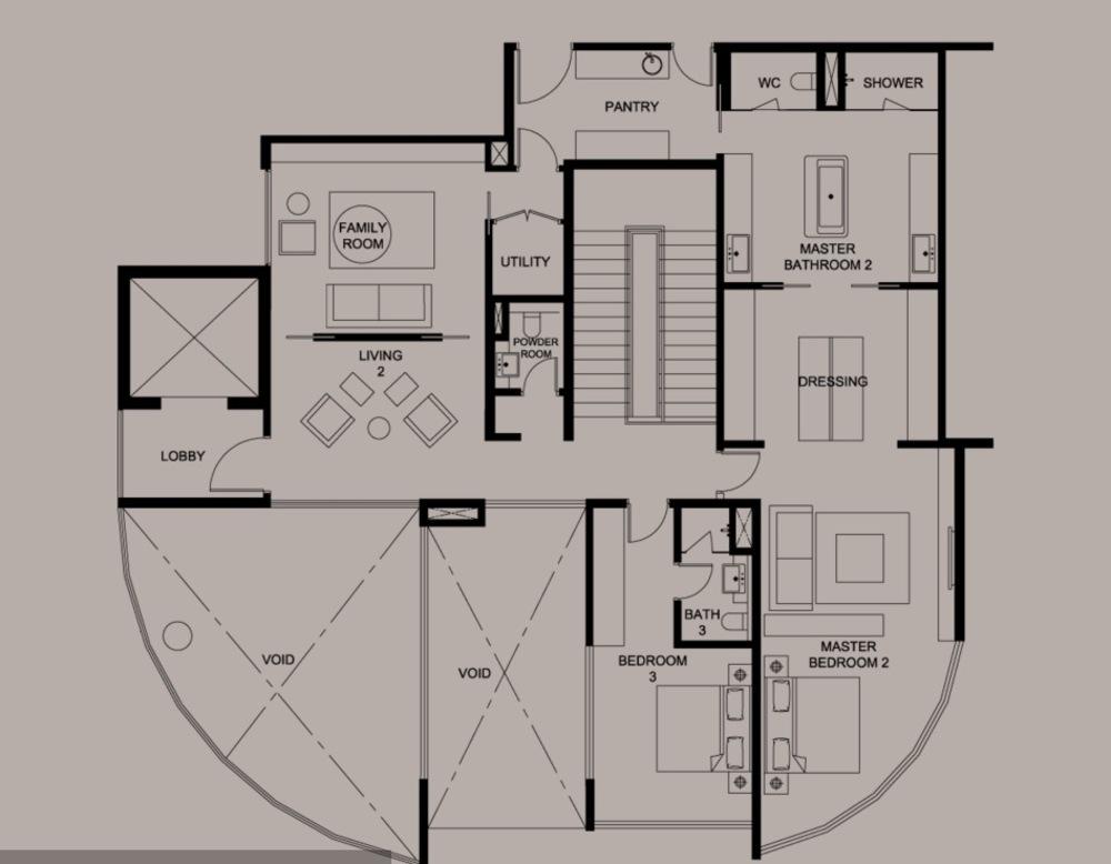 DC Residency Type PH1A (Lower) Floor Plan