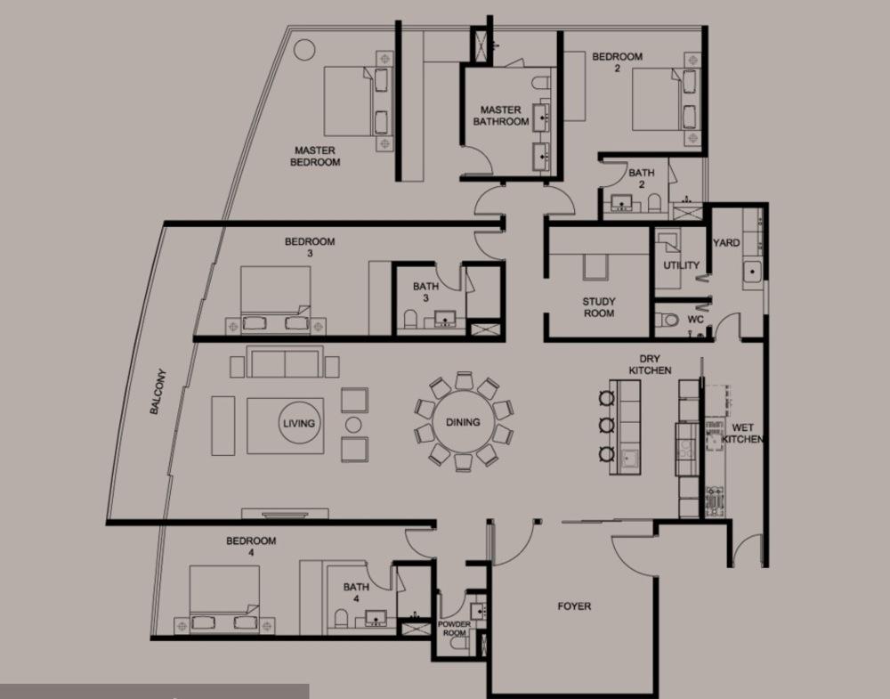 DC Residency Type PH3B Floor Plan