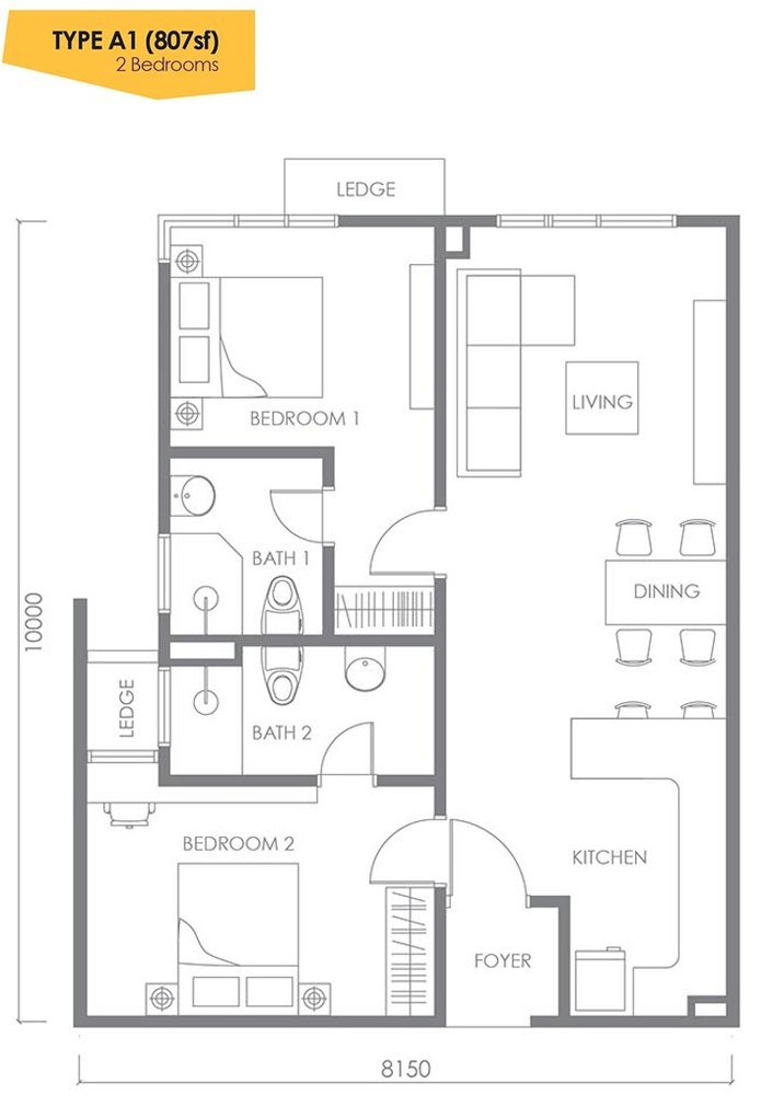 Urbana Residences @ Ara Damansara Type A1 Floor Plan