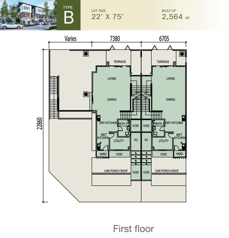 Tiara South Type B Floor Plan