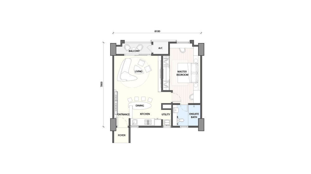 Radia Residences Type 1A1 Floor Plan