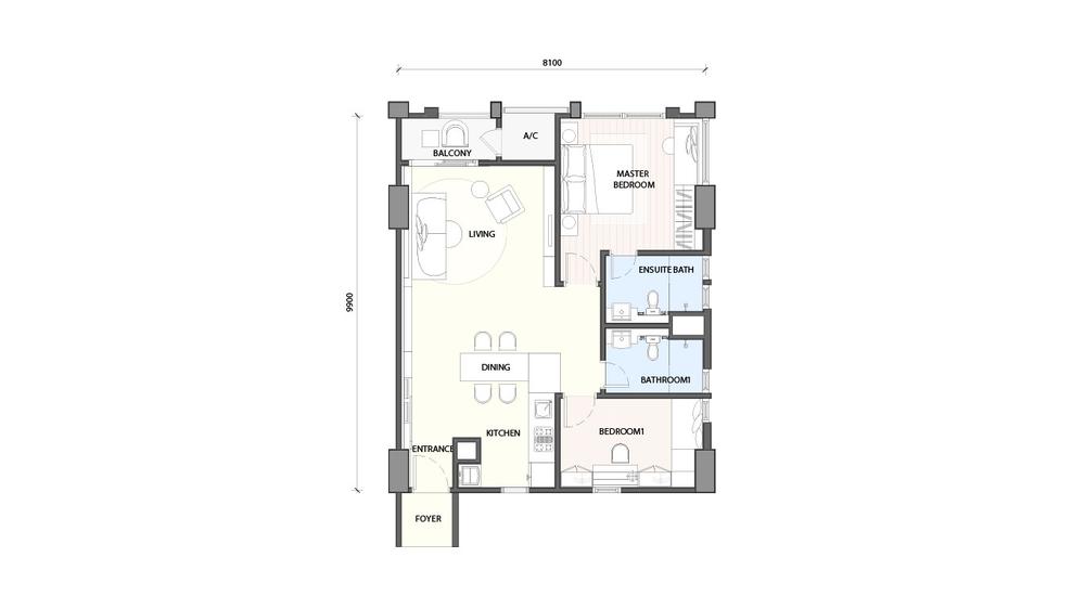 Radia Residences Type 2A1 Floor Plan
