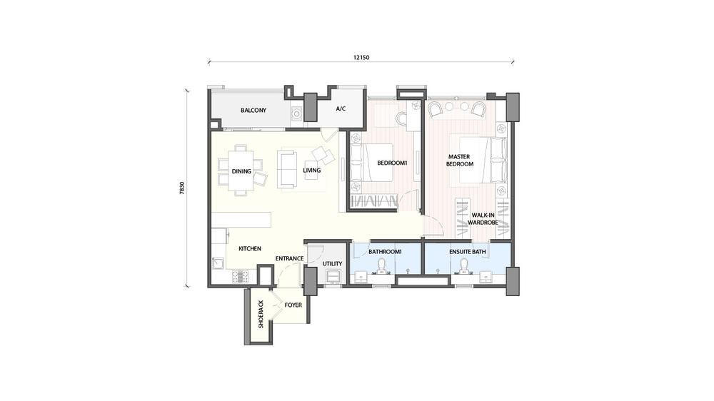 Radia Residences Type 3A1 Floor Plan