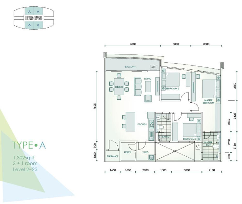Cristal Residence Condominium - Type A Floor Plan