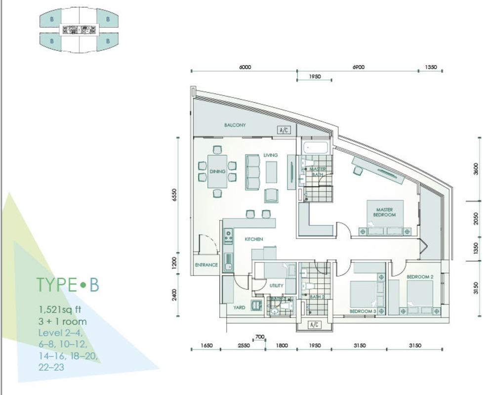 Cristal Residence Condominium - Type B Floor Plan