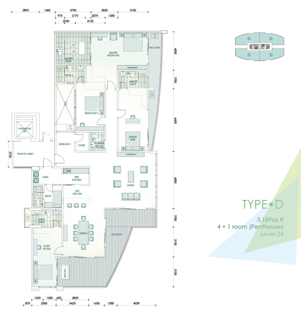 Cristal Residence Condominium - Type D Floor Plan