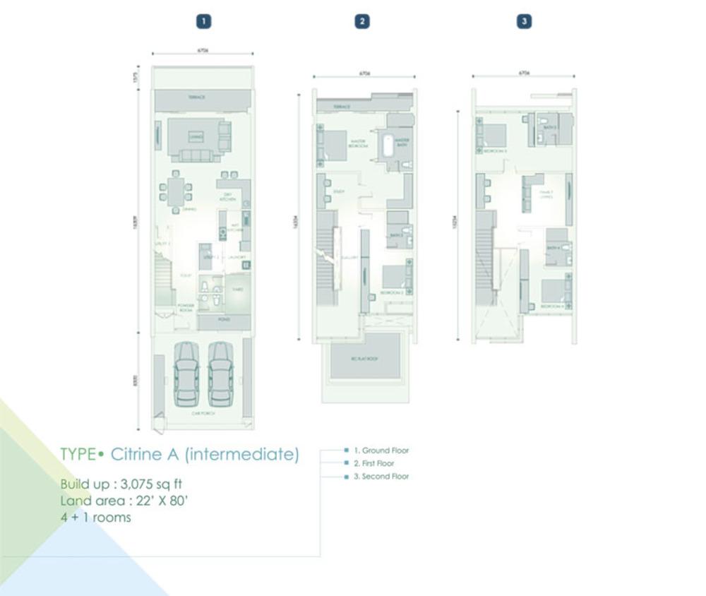 Cristal Residence Villa - Citrine A (Intermediate Unit) Floor Plan