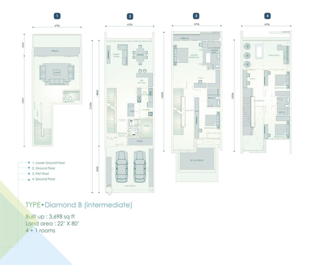 Cristal Residence Villa - Diamond B (Intermediate Unit) Floor Plan