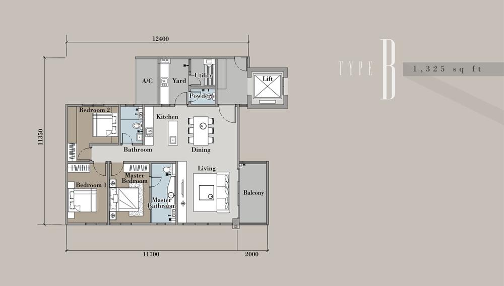 The Andes Condominium - Type B Floor Plan