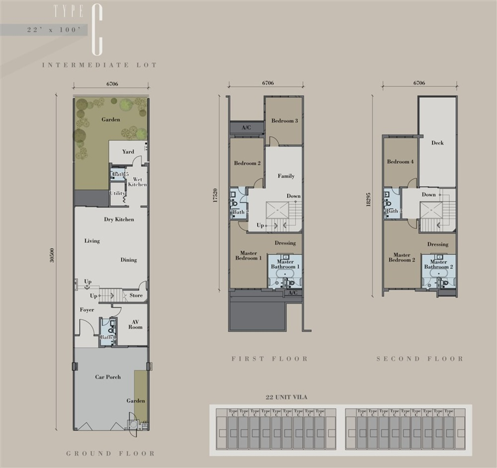 The Andes Villa Terrace - Type C Floor Plan