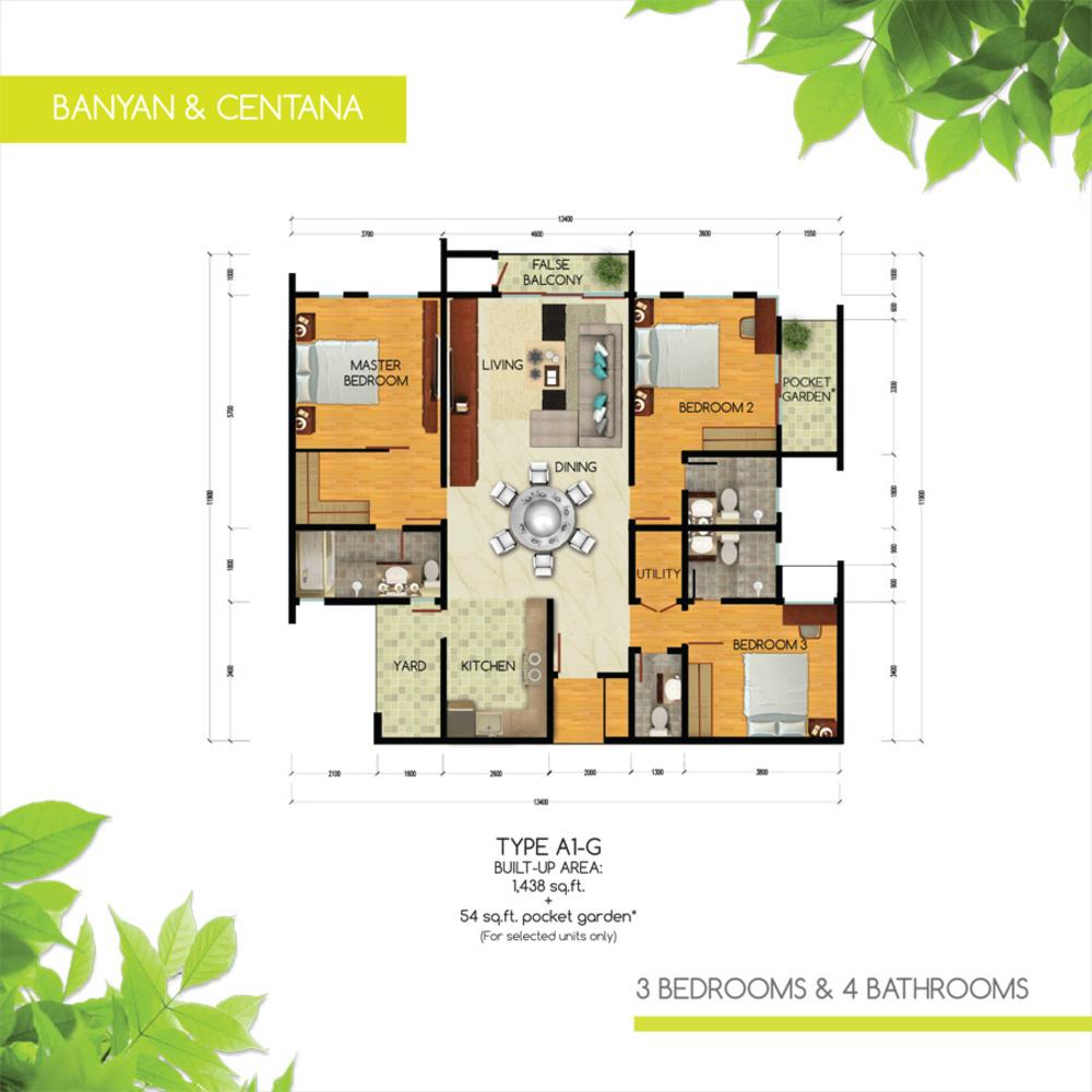 Green Residence Banyan & Centana - Type A1-G Floor Plan