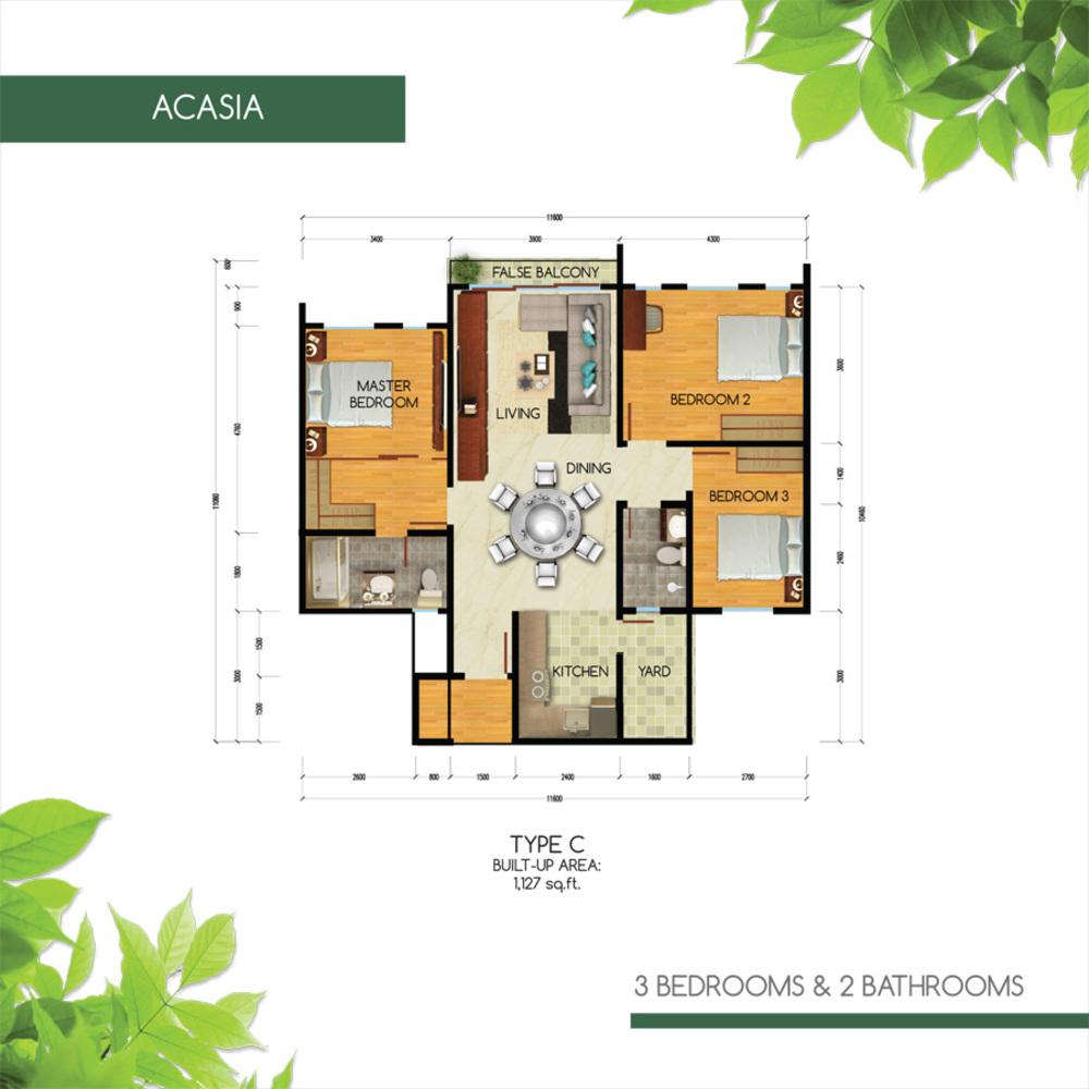 Green Residence Acasia - Type C Floor Plan