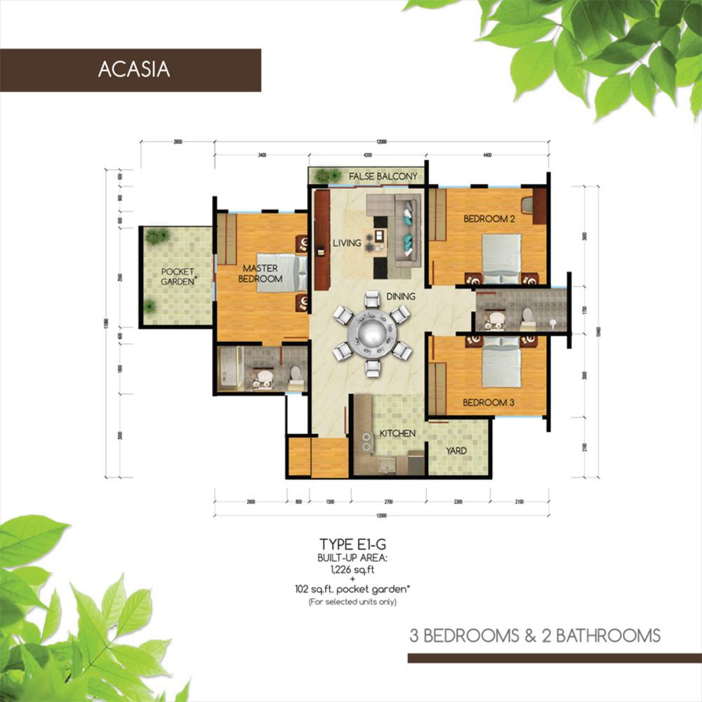 Green Residence Acasia - Type E1-G Floor Plan