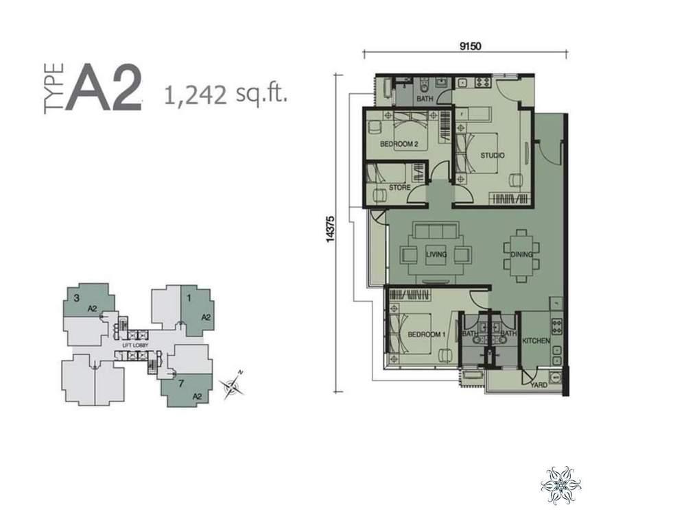 Capella Residenz @ Pacific Star Type A2 (Dual-key Concept) Floor Plan