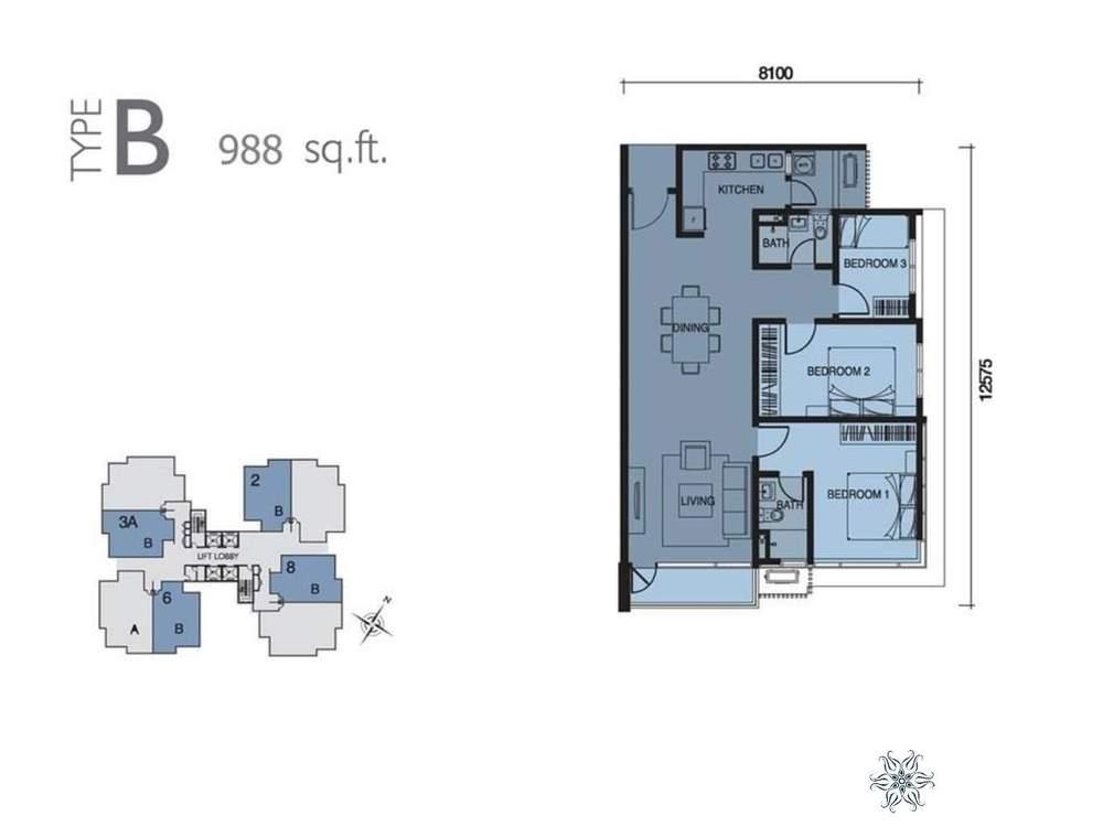 Capella Residenz @ Pacific Star Type B Floor Plan