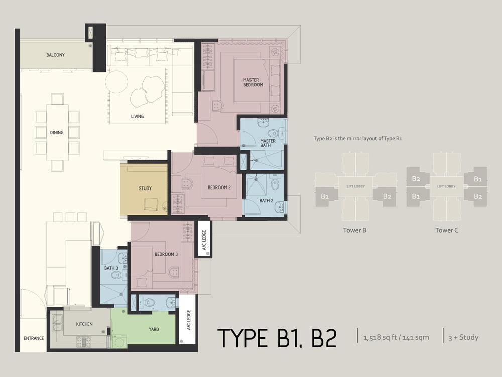 Infiniti3 Residences Type B1 & B2 Floor Plan