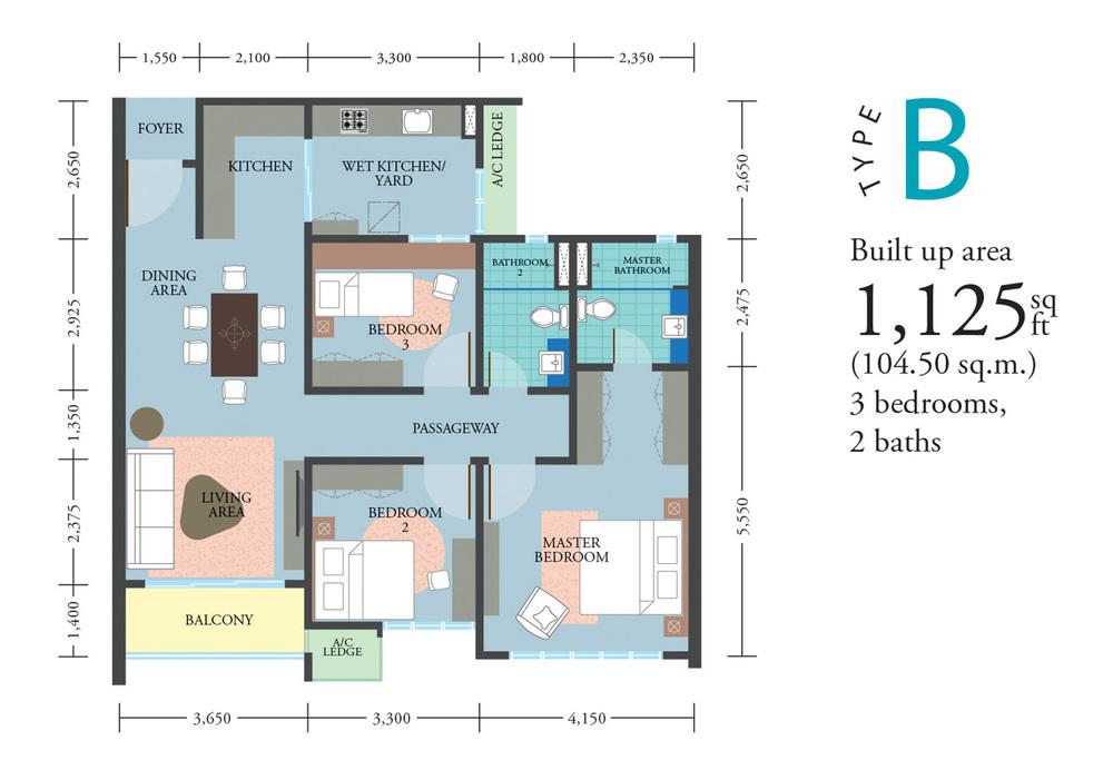 LakePark Residence @ KL North Type B Floor Plan